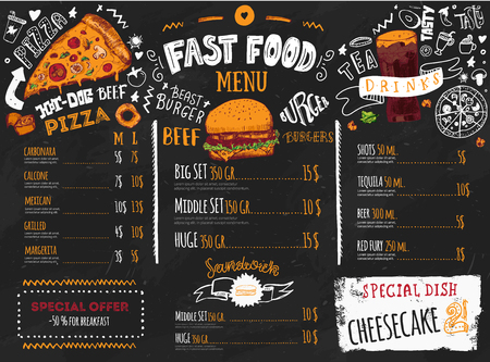 Fast food menu design on dark chalkboard with lettering and doodle style sketches. Vector creative junk kitchen illustration. Illustration