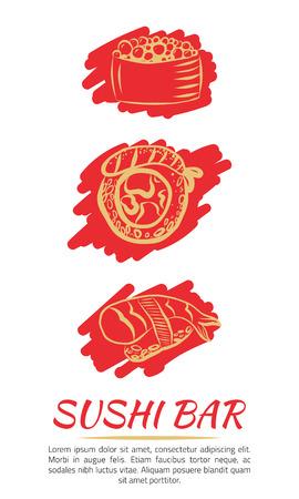 SUSHI LOGO with rolls banner design. Bright background with golden signs. Hand drawn vector illustration Ilustração