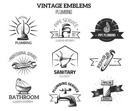 Loodgieters bedrijfsetiketten in uitstekende stijl voor emblemen. Huis reparatie concept. Tapkraan, pijp vectorelementen op witte achtergrond worden geïsoleerd die.