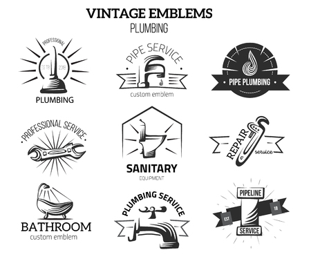 Plumbing business labels in vintage style for logos. Home repair concept. Faucet, pipe vector elements isolated on white background. Ilustração