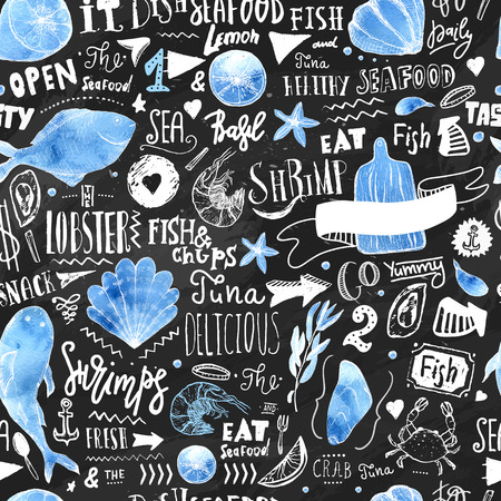 Seafood Restaurant seamless pattern. Fish Background With Watercolor Effect and lettering elements