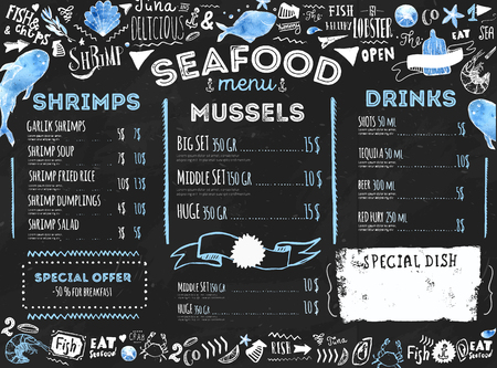 Seafood menu with sketch fish and lettering. Identity for restaurant and cafe. Hand drawn Design template with hand-drawn illustrations on dark chalkboard