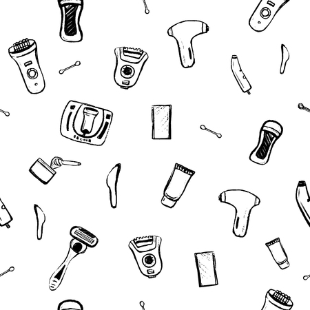 Hair removal Seamless pattern with sketch symbols. Types of Epilation for site background, business card, banner. Hand drawn vector illustration Vetores