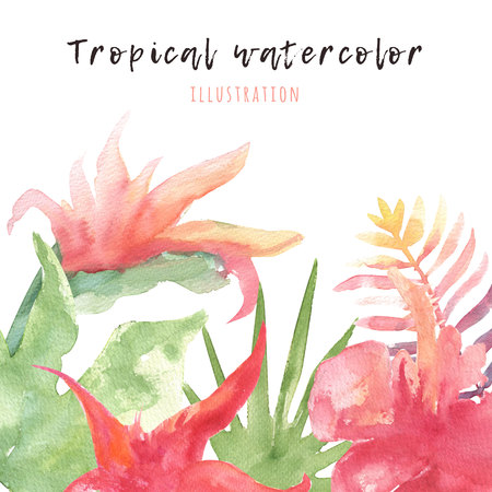 Tropical watercolor nanner with bright leaves and flowers summer illustration tropical watercolor nanner with bright leaves and flowers summer decoration for greeting cards exotic illustration m4hsunfo