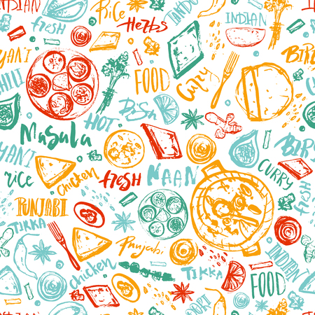 Indian Food seamless pattern background with lettering. Modern Sketch asian menu