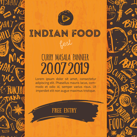 Indian Food menu background with lettering.