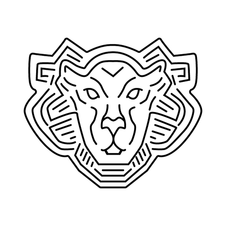 Lion head line logo design, vector pictogram isolated on white.