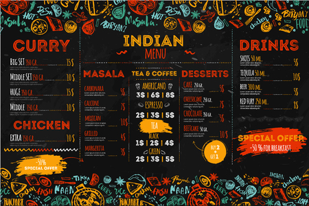 Hand drawn Indian food menu design with rough sketches and lettering. Can be used for banners, promo Vectores