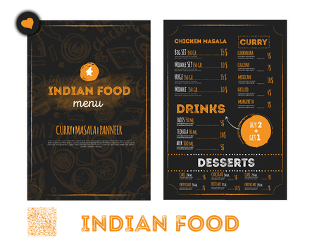 Hand drawn Indian food menu design with rough sketches and lettering.