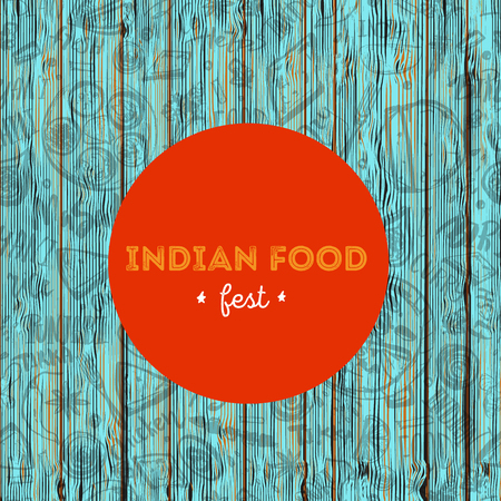 Indian Food menu background with lettering. Modern Sketch Flyer for cafe.