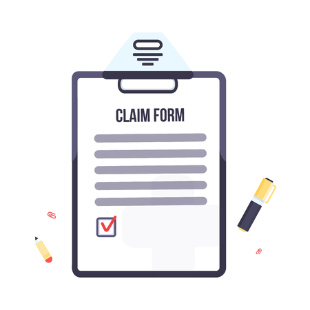A Insurance claim form with clipboard. Vector business illustration flat design.