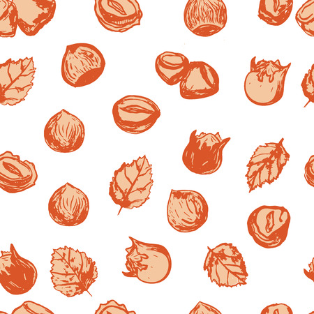 Hazel nut grunge seamless pattern. Isolated hazelnuts healthy food. Natural walnut snack with leaves. Organic collection Illustration