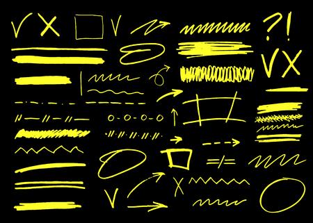 Vector marker brush stroke. Highlighter underline collection for business illustration Stock fotó
