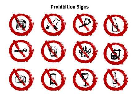 Grunge set of prohibition sign, no vector symbols. Forbidden icons with food, camera, alcohol.