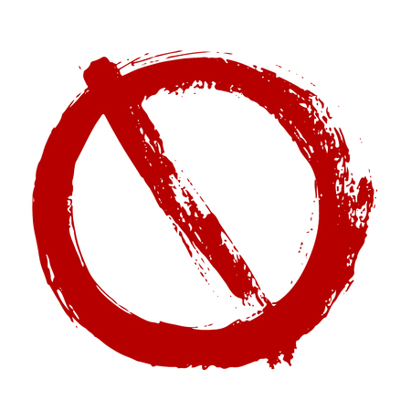 Vector grunge Prohibitory sign isolated on white. Warning restriction icon, danger symbol  イラスト・ベクター素材