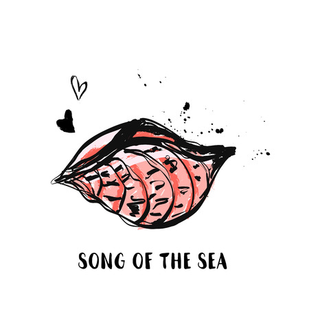Hand Draw Sea Shell grunge design with ink stains Archivio Fotografico - 102634635