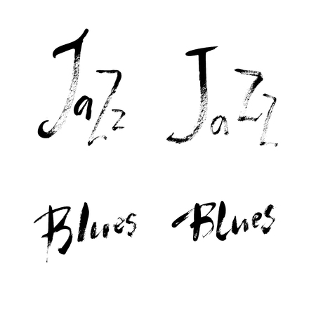 Jazz Blues lettering set. Vector ink hand drawn design. Brush pen design for Music poster. Can be used for music events  イラスト・ベクター素材