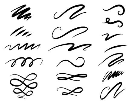 Set di lettere disegnate a mano e turbinii di calligrafia, scarabocchi. Decorazioni di inchiostro di vettore per la composizione Vettoriali