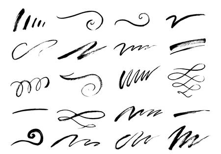 Conjunto de letras dibujadas a mano y remolinos de caligrafía, garabatos. Decoraciones de tinta vectorial para composición