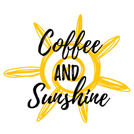 Coffee and sunshine. Lettering poster with yellow stain on background. Good morning concept. 일러스트