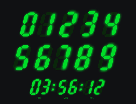 Digital clock numbers. Bright green led display signs.