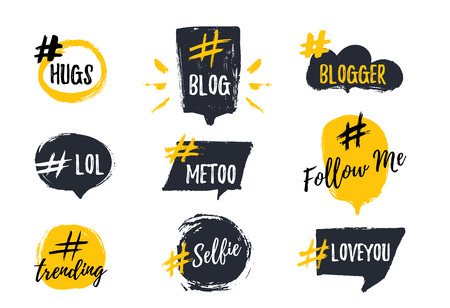Set of bubbl banners with hashtags. trendy young slang words. Vector illustration.