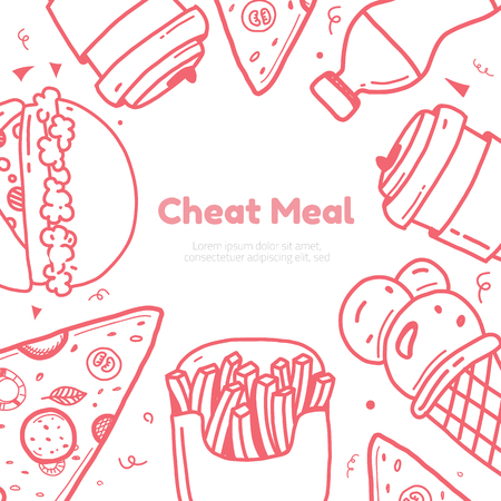 Cheat day poster card with line art hamburger, cup and fries, ice cream clean design.