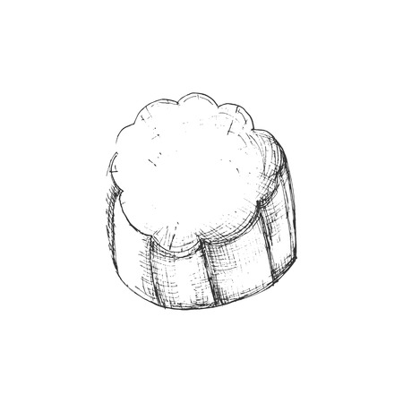 Ricotta sketch icon of cheeses dairy product Isolated on white background. Can be used for logo, restaurant menu, recipe book  イラスト・ベクター素材