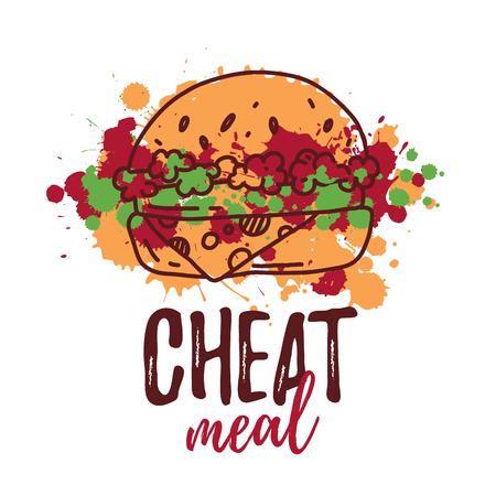 Cheat Meal with hand drawn Burger label, badge. Emblem for fast food restaurant, cafe. Isolated on white background. Vector illustration Векторная Иллюстрация