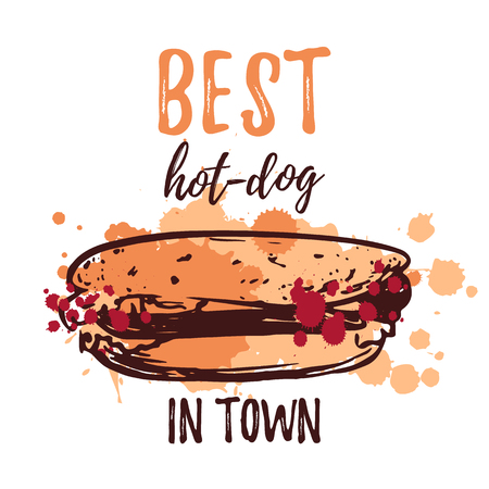 Best Hot dog poster design template with hand drawn Vector illustration and watercolor splashes Illustration