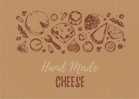 Grunge Cheese Horizontal Banner Restaurant Menu On Crafted Paper