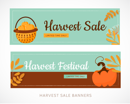 Harvest festival set banner design with pumpkin and leaves. Vector illustration promotion.