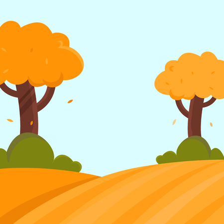 Autumn landscape flat vector illustration with trees and bushes and place for text Ilustrace