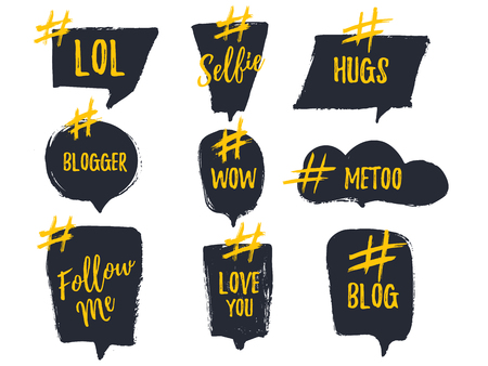 Set of bubble banners with hashtags. trendy design for young slang words. Vector illustration. Stock Photo