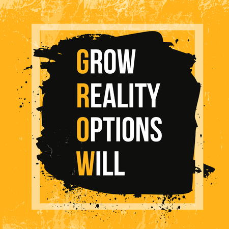 Inspiring motivation quote about Growth. Vector typography poster and t-shirt design, office decor. Distressed background.