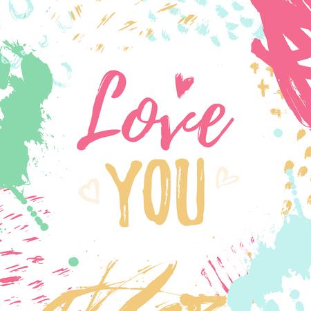 Ich liebe dich Kartendesign. Valentinstag-Grunge-Konzept mit Schriftzug Standard-Bild