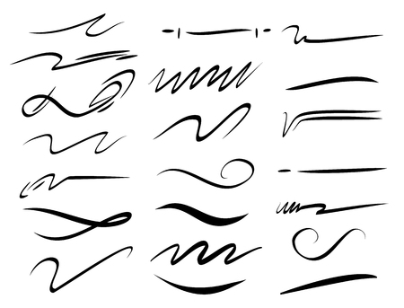 Set of hand drawn lettering and calligraphy swirls, squiggles. Vector ink decorations for composition