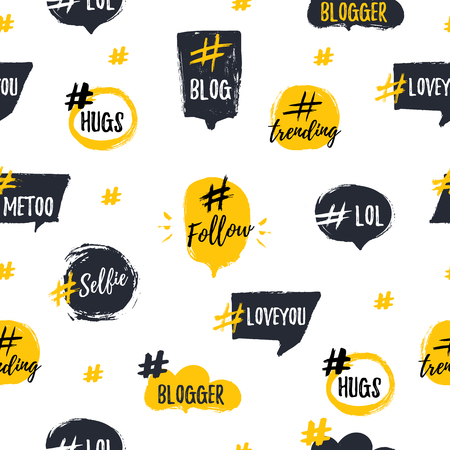 Hashtag bubble seamless pattern with trendy young slang words. Illustration