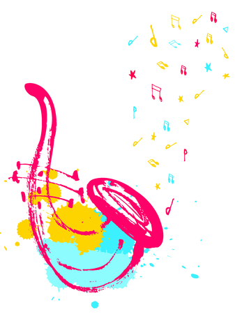 Saxophone illustration with splashes and notes in the shape of a wave for music poster. Illustration