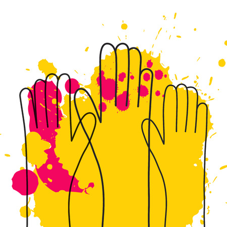 colorful up hand background in line art style with splashes. Volunteer concept. Vectores