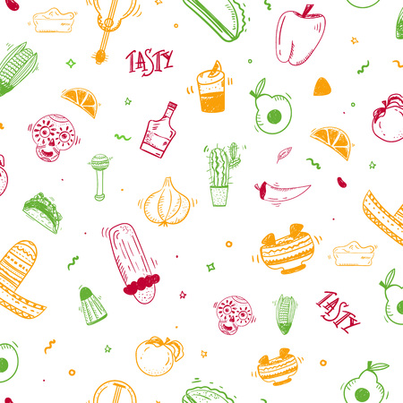 Colorful doodle sketch Mexican seamless pattern design with taco, chiliburrito. Vectores