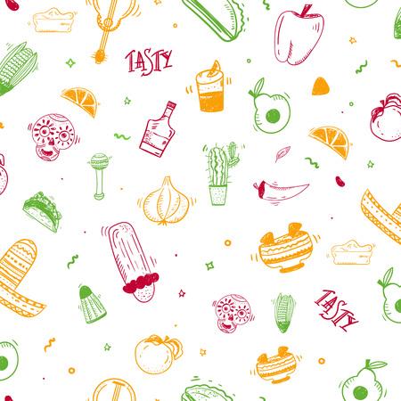 Colorful doodle sketch Mexican seamless pattern design with taco, chiliburrito. Illusztráció