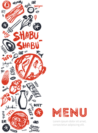 Modern shabu sukiyaki restaurant template with grunge doodles and lettering. Asian vector template design. Illustration