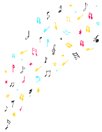 Grunge Music notes Background for Jazz Cover, Symphony Motif. Abstract symbols set.