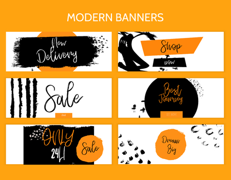 Modern Minimal grunge style horizontal banner template, can be used for infographics, social media promotion or website layout vector.