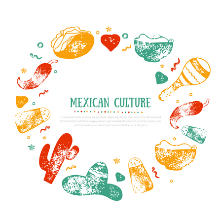 Grunge Mexican Culture frame for Food Restaurant menu, logo, template design with sketch icons of Chili pepper, sombrero, tacos, nacho, burrito.