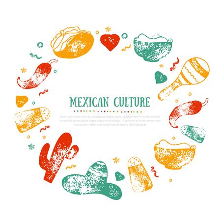 Marco de la cultura mexicana de grunge para el menú del restaurante de comida, logotipo, diseño de plantillas con iconos de dibujo de ají, sombrero, tacos, nacho, burrito. Logos