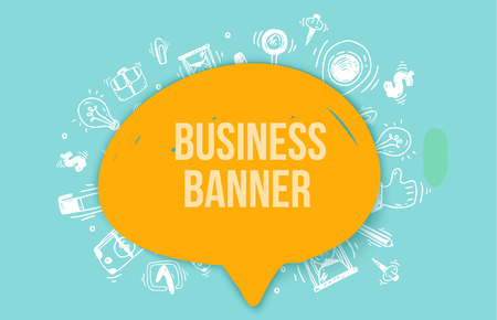 Modern Business Doodle vector banner for web, site headers, printed materials on pattern background