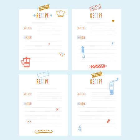 Modern Recipe card template set for cookbook. Menu Vector Illustration.