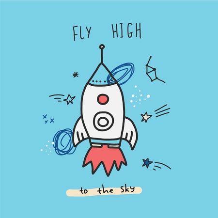 Impresión de carteles espaciales con cohetes, estrellas y espacio. Se puede utilizar para camisetas, ropa. Ilustración de vector